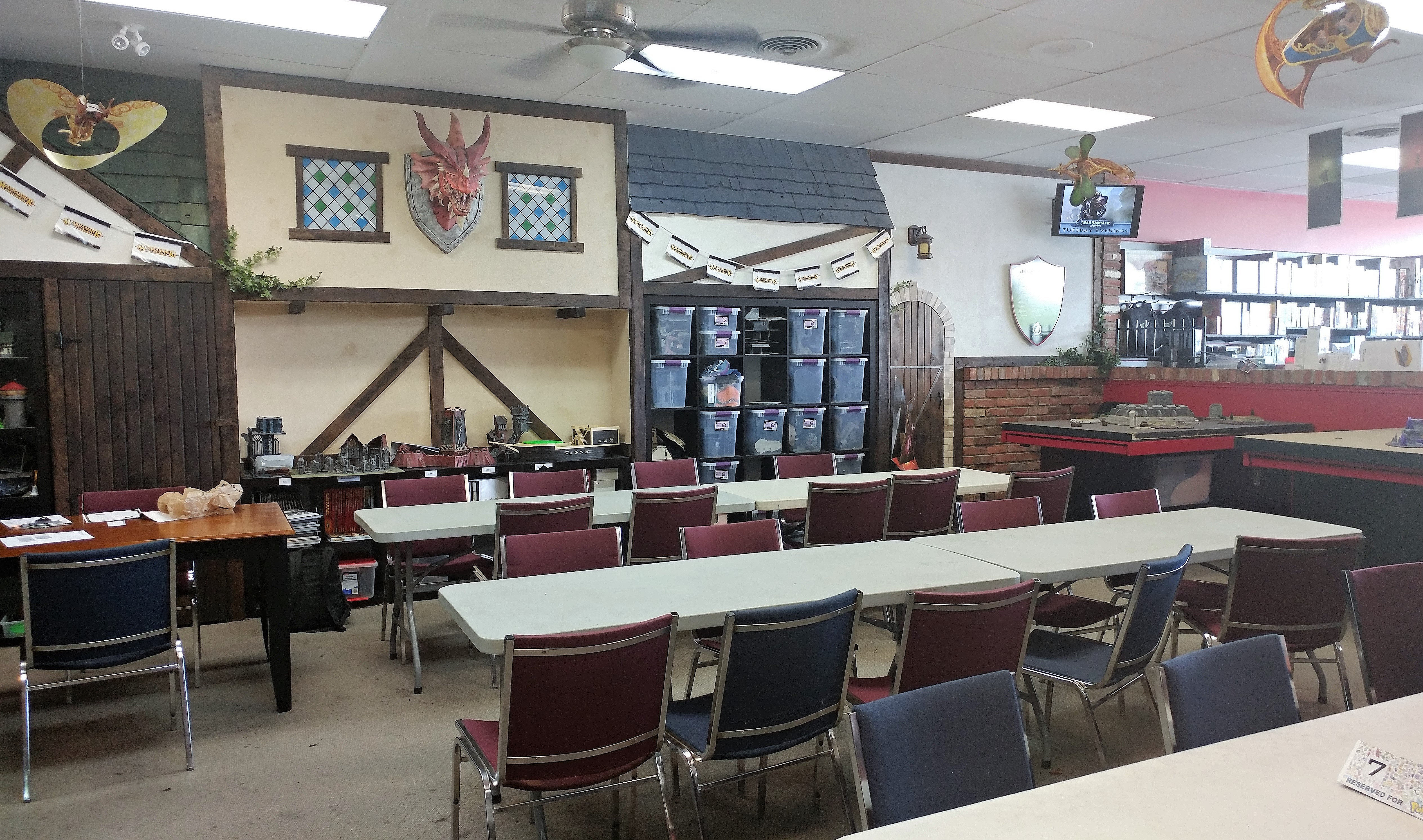 Gaming space at Black Knight Games