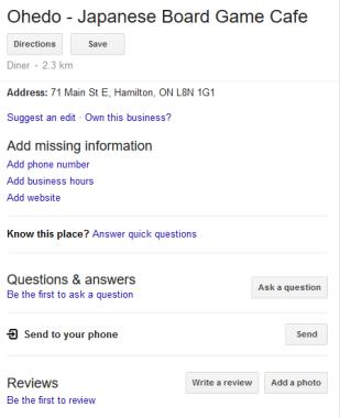 Google location information for Ohedo as of Jun 14, 2018